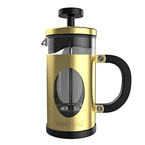bonVIVO® GAZETARO I design cafetiere and French Press made of stainless steel and glass in gold finish with filters, (035l / 350ml /12 ounces)