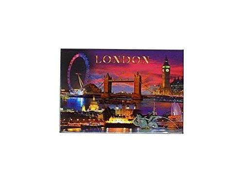 London by Night Bild Magnet–Wort und Symbole/Big Ben/Tower Bridge/Eye/St. Paul 's Cathedral/Tower of London/Themse/UK British Souvenir