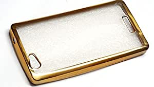 Reliance Lyf Wind 1Gold Frame Border Bumper Plating High Quality Original TPU Soft Ultra Thin Transparent Silicone Crystal Clear TPU Flexible Back Case Cover