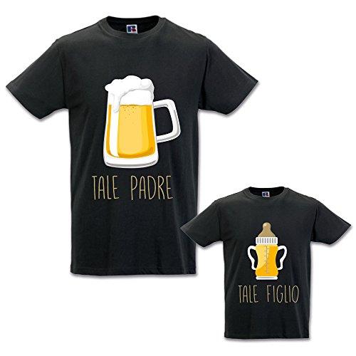 Coppia di t-shirt magliette papa' e figlio/figlia idea regalo festa del papa' tale padre tale figlio - birra nere uomo m - bimbo 1-2 anni