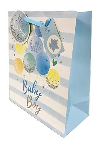 Medium Hello Baby Boy Gift Bag Balloons +Tape (Baby Dusche Luftballons Boy)