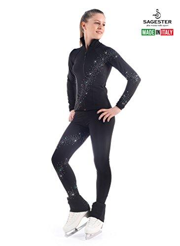Sagester Skating-Set aus Hose und Jacke mit Swarovski-Kristallen, Damen, schwarz, Adults Size: XL