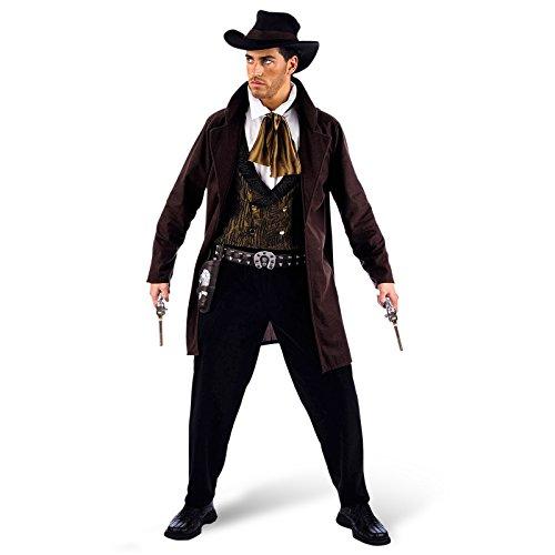 Cowboy Kostüm, Wildwest, Uniform, mit Hut, Weste, Hose, Hemd, Jacke, abgewetzt ledrig - ()