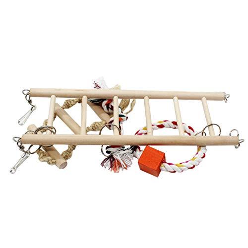 Tellabouu for Kleine Vögel Spielzeug Holz Leitern Swing Scratcher Barsch Klettern Leiter Mit Seil Vogelkäfig Hamster Papagei Spielzeug Heimtierbedarf