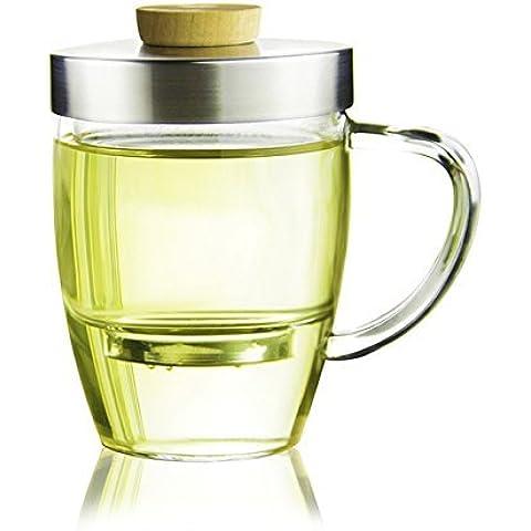 Taza de cristal con tapa y filtro y de cristal para Loose Leaf Teas–320ml