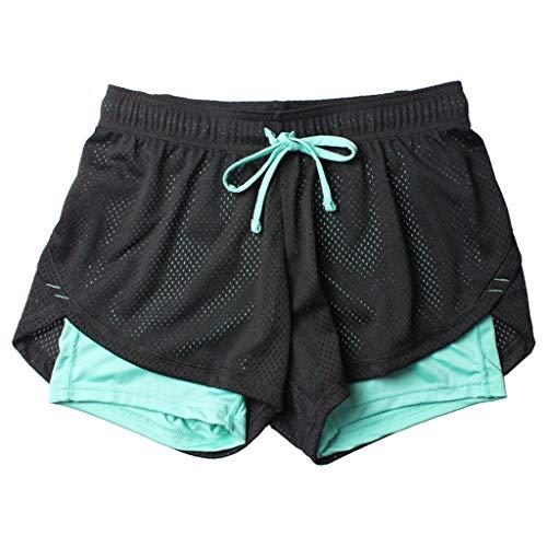 WOZOW Damen Sport Hose Kurze Hose Shorts Fake 2 in 1 Solid Mesh Patchwork Atmungsaktiv Quick Dry Lose Loose Bequem Workout Laufhose Sport Hose Mini Hosen (S,Schwarz & Blau)