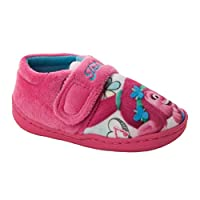 Girls Official Trolls Character Poppy Pink Touch Fasten Slippers UK Size 6-12