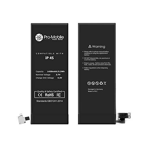 Pro-Mobile Ersatz Akku für Original Apple iPhone 4S 1430mAh inkl.Klebestreifen und Reperaturwerkzeugset Batterie Battery Handy Accu iPhone 4S