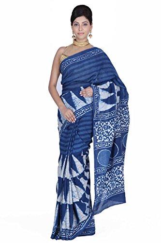 Geroo Woven Daily Wear Hand-loom Cotton Indigo Dabu Print Saree (Blue)