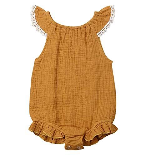 WANGSAURA Baby Mädchen Junge àrmellos Gekräuselte Leinen Einteiliger Strampler Kleinkind Spielanzug 0-24 Monate Neugeborenes Kleidung, Gelb, 90 für 12~18 Monaten (Halloween-outfits 0-3 Monate)