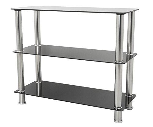 Modernes Regalsystem mit 3Etagen, Regal-Vitrine, Breite: 90cm, Beine aus Chrom, glas, schwarz, 3 Shelf -