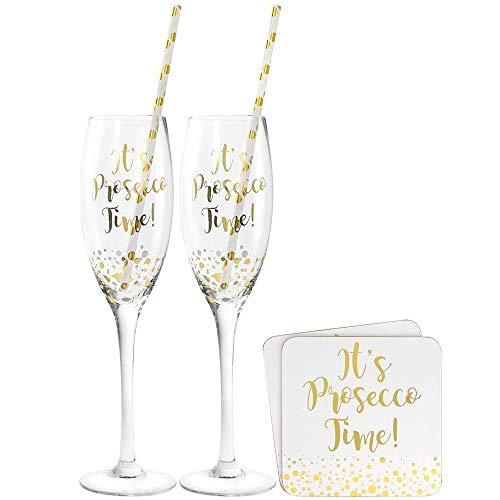 Prosecco Cocktail Set Gläser mit 2Trinkhalme & 2Untersetzer