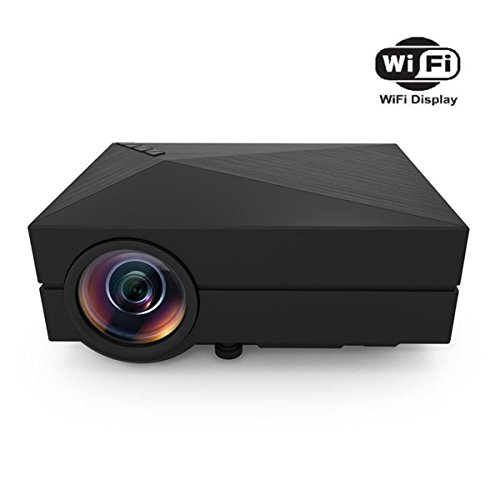Mini WiFi Proiettore, Proiettore Mini Proiettore HuiHeng GM60A Wireless LED 800 * 480 1000 lumen Proiettore multimediale per il partito di Home Entertainment Video giochi TV Film Privato Cinema Casa Beamer Supporto USB / AV / SD / VGA / HDMI porta