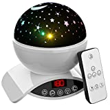 Aisuo Lighting Lamp, Star Projection with Auto Shut Off Timer, 7 Color Rotating Options by Remote, Rechargeable Lithium Battery & Dimmable Function, Ideal Gift for Kids, Children, Friends. (White)