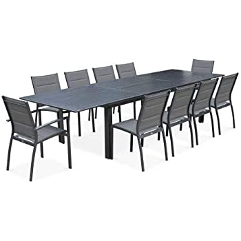 Salon de Jardin Table Extensible - Odenton Anthracite ...