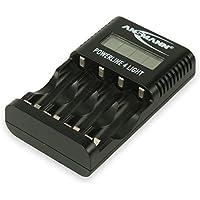 ANSMANN Powerline 4 Light Ladegerät Akku / Leichte & kompakte 4-fach Ladestation für Mignon AA & Micro AAA Akkubatterien / Mit LCD-Display und USB-Anschluss für Smartphone oder Kamera