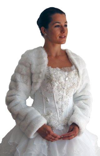 Brautjacke-Bolero, Fell-Nerzimitat, langarm, weiß, Größe 50