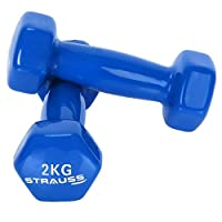 STRAUSS Unisex Adult ST-1519 Vinyl Dumbbell - Blue, 2 x 2 kg