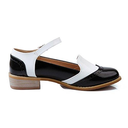 VogueZone009 Femme Boucle Rond à Talon Bas Pu Cuir Couleurs Mélangées Chaussures Légeres Noir