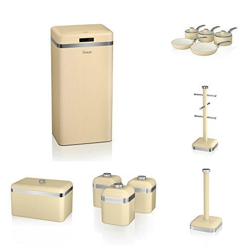 Swan Cream Kitchen Accesories Retro Set Of 12 - 5 Piece Saucepan Set , Retro Breadbin, 3 Canisters, Towel Pole, 6 Mug Tree And Sensor Rubbish Bin Set