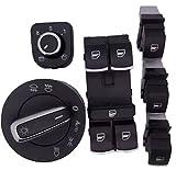Sengear Chrom Fensterheber Lichtschalter Spiegel Einzelschalter Doppelschalter Schalter Set für VW Jetta Golf GTI Tiguan Passat Rabbit