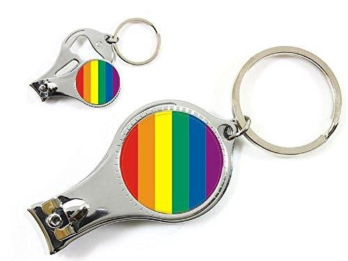 Schlüsselanhänger Nagelknipser, Flaschenöffner Flagge Regenbogen Rainbow Flag Gay lesbische