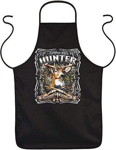 Schürze mit Jagd Motiv: American Hunter – Hirsch – Geschenk für Jäger – One size – Grillschürze, Kochschürze – schwarz