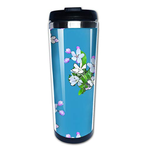 Apple Blossoms On Blue Upholstery Multi Insulated Stainless Steel Travel Mug 14 oz Classic Lowball Tumbler with Flip Lid Blue Barrel Mug