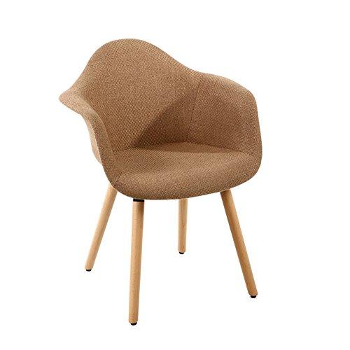 YIXINY Chaise Chaise En Bois Massif Lin Chaise De Bureau Fauteuil Chaise D'ordinateur Simple Loisirs Chaise De Café ( Couleur : Marron )