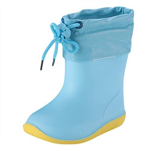WEXCV Unisex Baby Jungen Mädchen Gummistiefel Kinder Einfarbig Cartoon Ente Verdicken Schnürsenkel Schuhe Kinderschuh rutschfest Wasserdicht Schuhe Regenstiefel (23 EU, H-Blau)