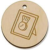 Azeeda 11 x 34mm 'Medalla Enmarcada' Colgante de Madera (PN00042147)