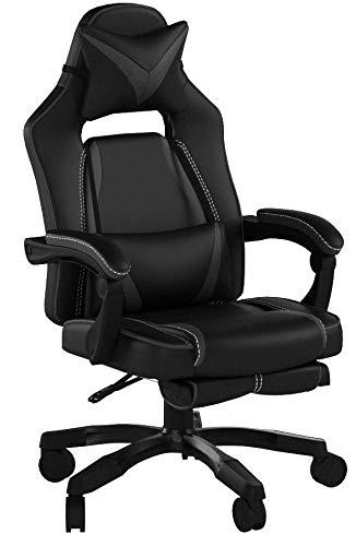 Delman XXL Size Gaming Stuhl Computerstuhl Chefsessel Kunstleder Bürostuhl Höhenverstellbarer Schreibtischstuhl Ergonomisches Design mit Fußstütze Dicke Polsterung von 11 cm RS0019GY