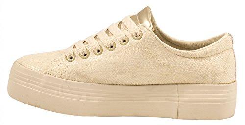 Elara Damen Plateau Sneakers | Sportlich Bequeme Schuhe | Schnürer Apricot Paris