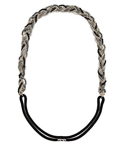 SIX Elastisches Haarband: Geflochtene Haarkette, Gummi, Haarschmuck mit Perlen und Ketten, silber, grau, schwarz, Karneval, Römer (456-092)
