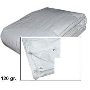 abdeckplane mit sen wasserdicht mt 6 x 10 wei 120 gr garten. Black Bedroom Furniture Sets. Home Design Ideas
