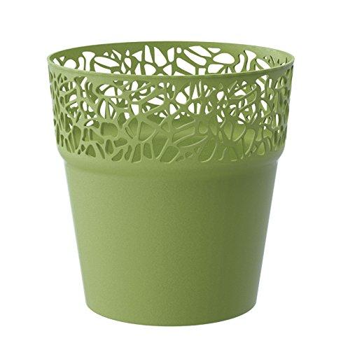 Rond cache-pot 14.5 cm NATURO plastique romantique style en olive