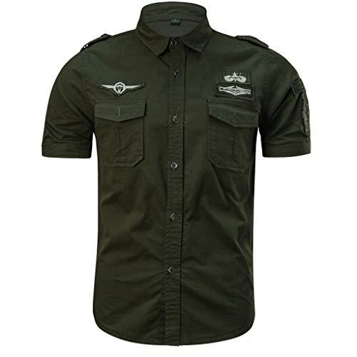 Kobay Chemise à Manches Courtes pour Hommes, de Couleur Unie et d'uniforme Militaire T-Shirt Ample à Manches Courtes en Vrac à Manches Courtes à Manches Courtes