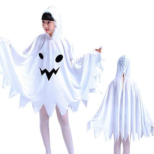 LoveLeiter Kinder Halloween Cosplay Kostüm Kapuzen Cosplay-Umhang,Mädchen Passende Hut Knie-Kleid Mädchen Mode Einfarbig Rundhalsausschnitt Kurzarm A-Linie Bühnenshow Kleidung