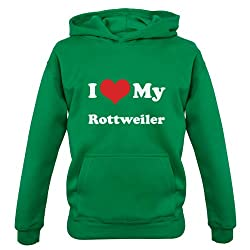 I Love My Rottweiler - Childrens / Kids Hoodie - 7 Colours - Ages 1-13 Years