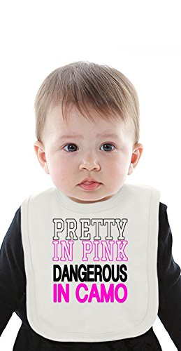 Pretty In Pink Dangerous In Camo Slogan Organic Bib With Ties Medium -