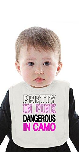 Pink Camo Bib (Pretty In Pink Dangerous In Camo Slogan Organic Bib With Ties Medium)