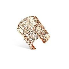 Idea Regalo - Emma Gioielli - Bracciale Donna Rigido Alto alla Schiava Pl. Oro Rosa con Fiore Fiori Rosa Rose Traforate - Confezione Regalo