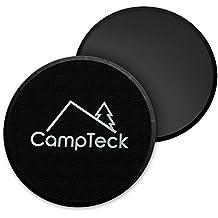 CampTeck 2x Discos Deslizantes Doble Cara Disco Abdominales para Abs Entrenamiento, Hogar, Yoga, Fitness, Pilates, Ejercicios de Cuerpo - Para Uso en Alfombra y Pisos Duros (Negro)