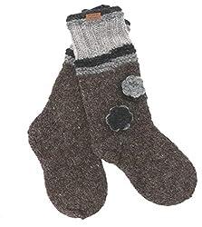 Guru-Shop Handgestrickte Schafwollsocken mit Blümchen, Haussocken, Nepal Socken, Herren/Damen, Grau, Wolle, Size:Medium, Socken & Beinstulpen Alternative Bekleidung