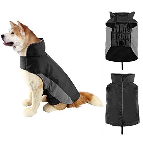 SymbolLife Hundemantel Winter Warm Hundejacke Regen Wasserdicht Jacke Winterjacke für Hunde Reflektierende Nylon Fleece Gefüttert Einfaches An- u. Ausziehen (XXXL, Schwarz)