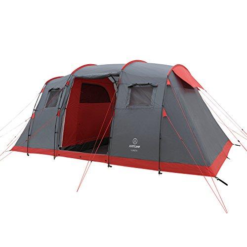 JUSTCAMP Lake 4 Tenda da Campeggio 4 posti - 2 camere (470 x 230 x 190 cm)