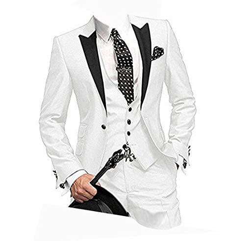 LYXP Herren EIN-Knopf 3 Stück Weiß Hochzeit Anzüge Kerbe Revers Anzug Bräutigam Smoking - Weiß - XXX-Large -