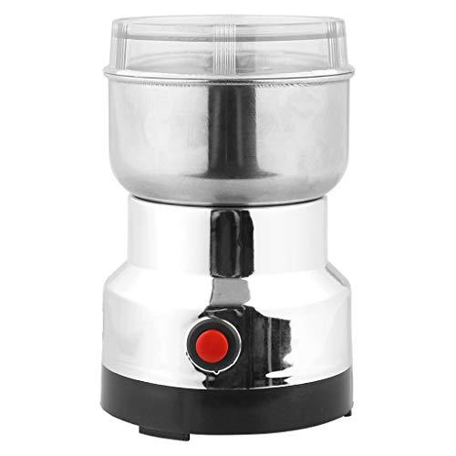 Café Molinillo eléctrico de 100 vatios con Recipiente de Polvo eliminación,17x11x11cm,50-60HZ, Acero Inoxidable+ABS (A)