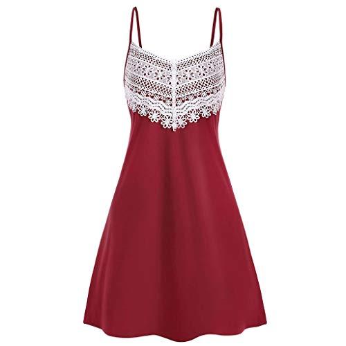 Lila Womens Cap Sleeve T-shirt (Zegeey Damen Kleid Retro Camis Spitze ÄRmellos V-Ausschnitt A-Linie BöHmen Schulterfrei Sommer Minikleid Festlich Strandkleider Abendkleid(rot,EU-38/CN-L))