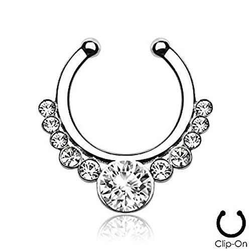 1 x Steel Clear Crystal Surround Helios Surgical Steel Fake Faux Clip On Septum Ring, No Piercing (Helios Kostüme)